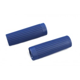 56202-62 Harley Topper Ribbed Blue handgrips and Plugs